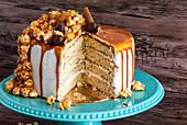 Caramel Popcorn Drip Cake