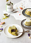 Matcha tea cake with dark chocolate heart