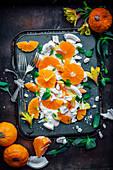 Smashed Pavlova With Lemon Curd, Oranges And Basil