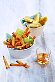 Sweet potato fries with cheese croquettes