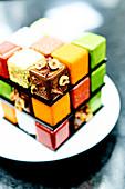Rubik's cake, recipe by pastry chef Cédric Grolet, restaurant Le Meurice, Paris