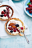 Two chocolate and summer fruit tartlets