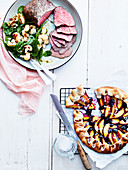 Venison steak, spinach salad and roasted cauliflower, nectarine and blueberry pie