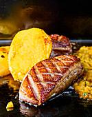 Roasted duck breast a la plancha and mango chutney