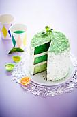 Grüne Ombre Cake mit Minze