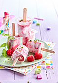 Petits-Suisse and Raspberry Popsicles