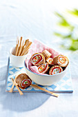 Buckwheat galette and smoked trout makis