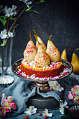 Rosewater Poached Pears with Cardamom, Coconut Cake