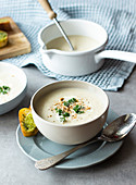 Cauliflower, Pear and Blueberry Soup with Garlic Butter and Herbs