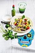 Tortilla mit Hähnchenfleisch und Gemüse (Mexiko)