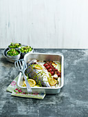 Sea Bream with Lemon and Pesto Crisp Vegetables