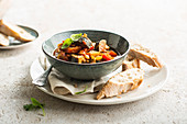 Eggplant stew with summer vegetables
