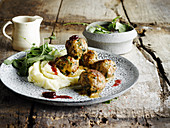 Swedish Meatballs with Cherry Sauce and Parsnip Purée