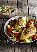 Hühnerbrust mit Fenchel, Lauch und Kirschtomaten