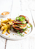 Portobello burger french fries
