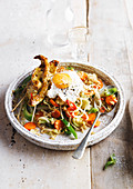 Turkey skewers nasi egg