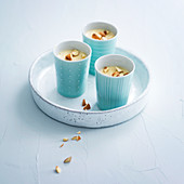 Apricot cream with almonds and ricotta