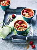 Strawberry, raspberry and rhubarb crumble with matcha tea