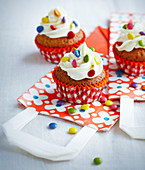 Vanilla and Smarties chocolate cupcakes