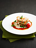 Thinly sliced veal and vegetable layer by Didier Massot