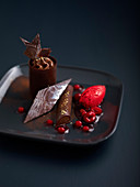 Chocolate and red fruits triple desserts by Chef Boutin