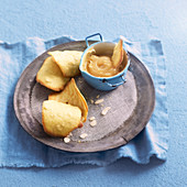 Almond and lemon curd tuiles