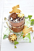 Easter Chocolate Mousse With Rabbit Shortbreads And Flowers