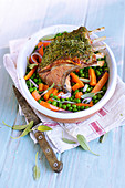 Easter Rack Of Lamb With Herbs And Spring Vegetables