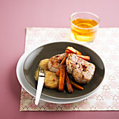 Veal Grenadin with cider,roasted carrots and celeriac puree