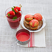 Rhubarb whoopies and raspberry coulis