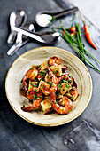 Spicy shrimps with tofu