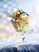 Scallop tartare with quinoa and mango whipped cream