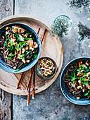 Gebratene Sobanudeln mit Spinat, Champignons und Trockenfrüchten
