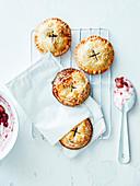 Strawberry and rhubarb mini pies