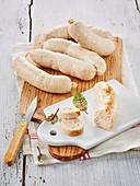 Hausgemachte Boudin Blanc (französische Weißwürste)
