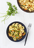 Conchiglie with vegetables and parsley