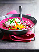 Creamed beetroot soup with a soft-boiled egg
