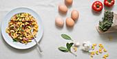 Sidanini mit Ente, Tomaten und Kräutern