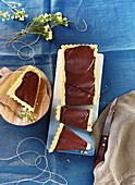 Chocolate ganache rectangular tart