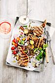Grilled lamb chops with lentil salad