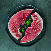 Roher Thunfisch in Scheiben geschnitten