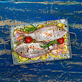Pink sea bream with potatoes and herbs