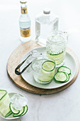 Gin tonic with sliced cucumber