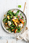 Spinach salad with lentils, green beans, nectarines and mozzarella