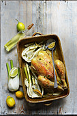 Chicken roasted with lemon and fennel