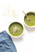Grüne Gemüsesuppe mit Sprossen