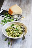 Pesto,basil,rocket lettuce Sardinian Troffie with parmesan