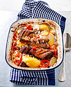 Duck with coconut milk, potatoes and peppers