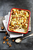 Cauliflower gratin with walnuts and bacon