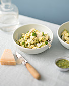 Gnocchi with leeks and herbs